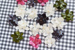 紫陽花の耳飾り(プリザーブドフラワー)